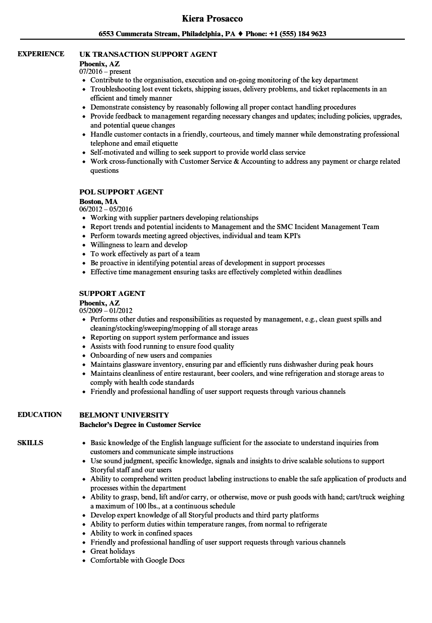 Support Agent Resume Samples Velvet Jobs