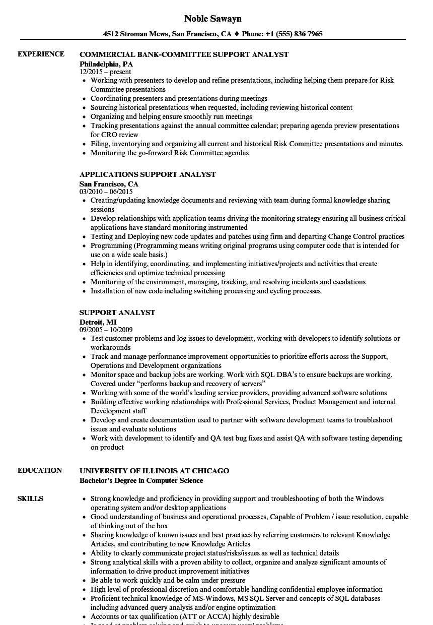 support analyst resume samples