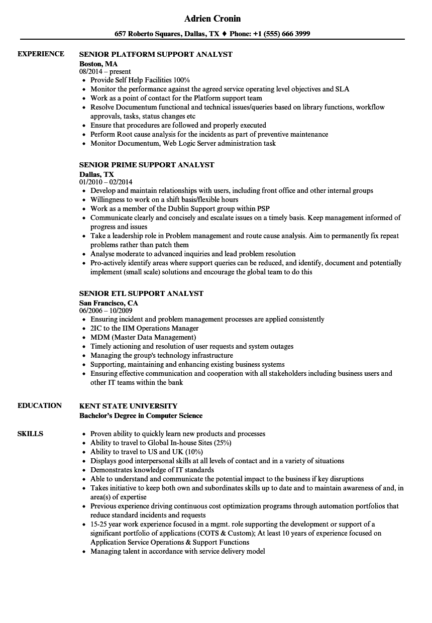 support analyst    senior support analyst resume samples