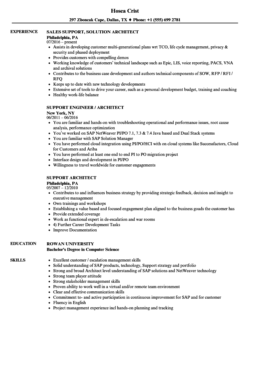 Support Architect Resume Samples Velvet Jobs