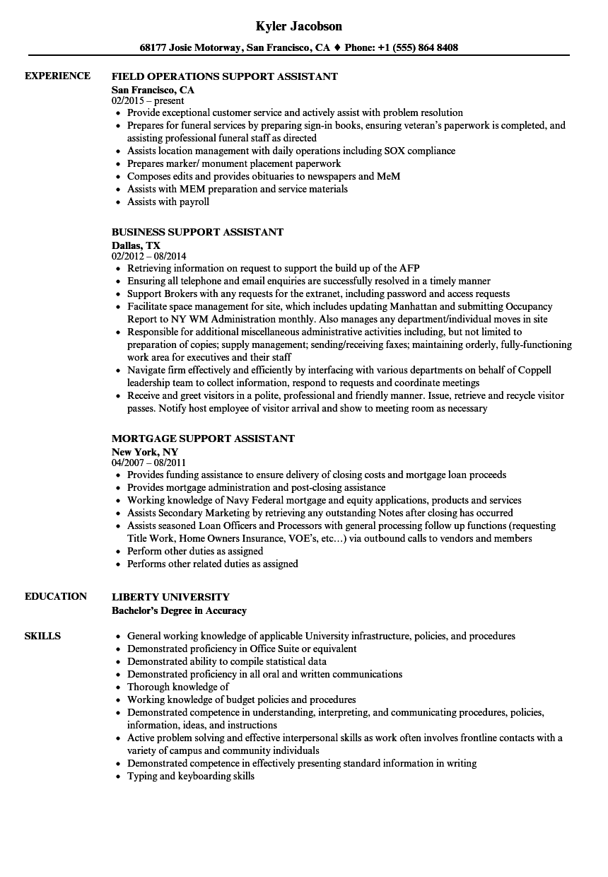 Support Assistant Resume Samples Velvet Jobs