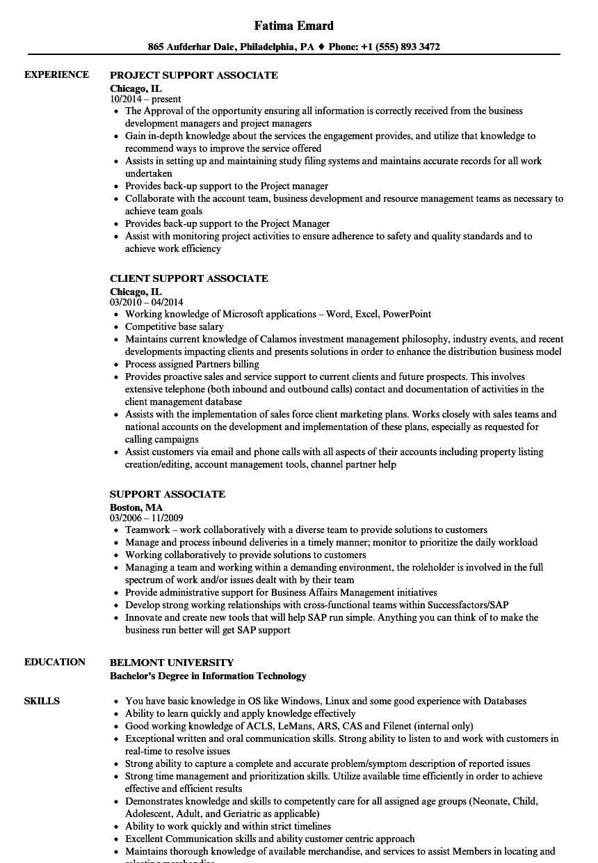 Support Associate Resume Samples Velvet Jobs