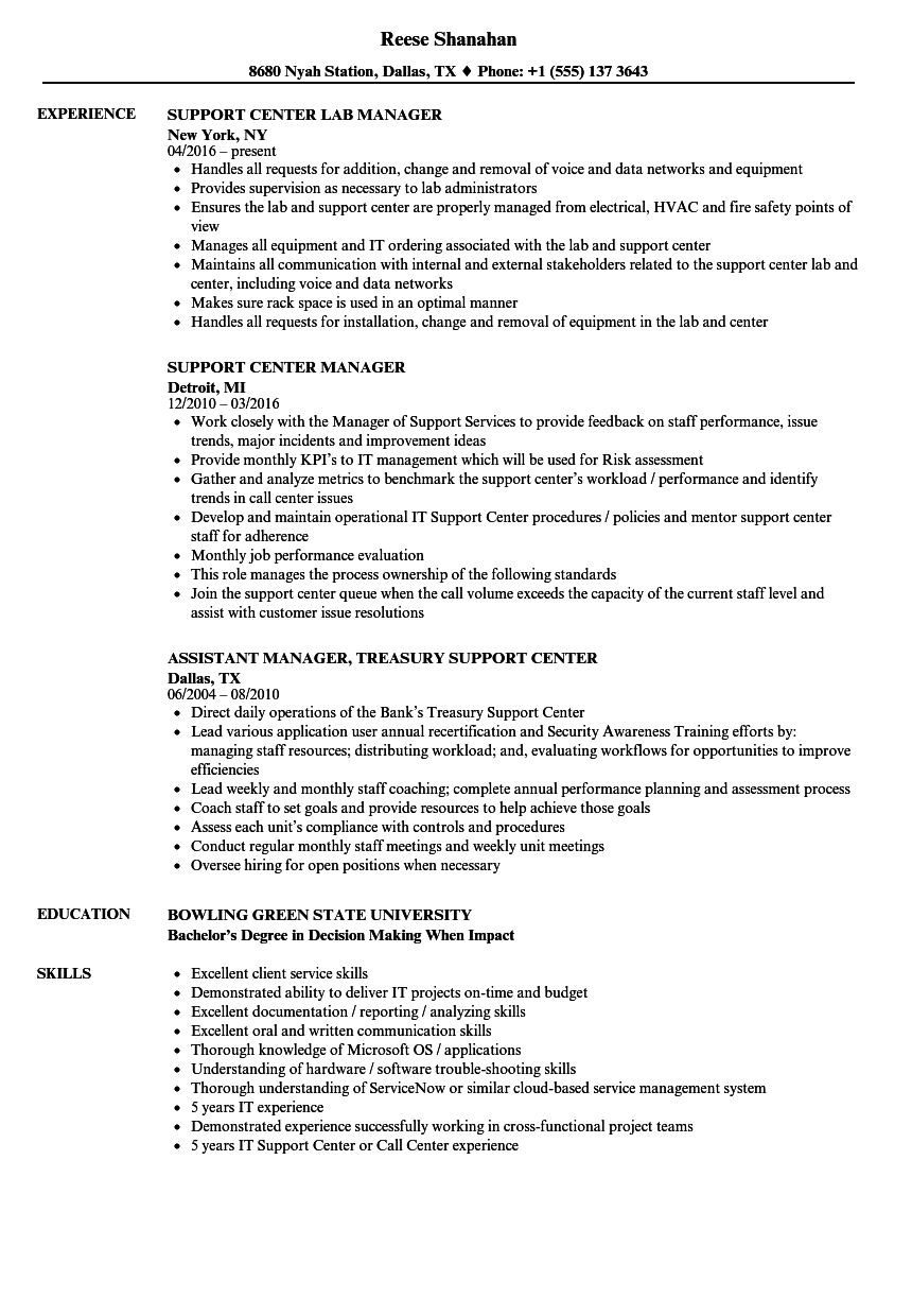 support center manager resume samples