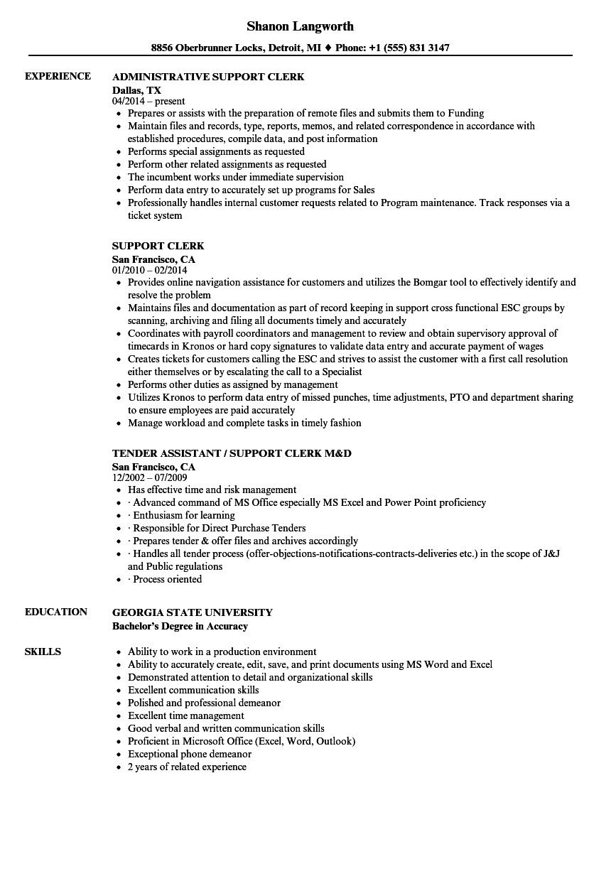 Support Clerk Resume Samples | Velvet Jobs