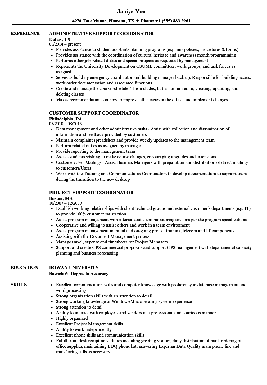 Support Coordinator Resume Samples Velvet Jobs