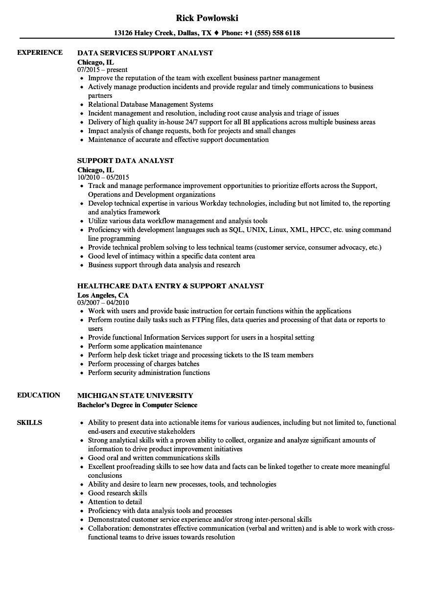 support data analyst resume samples velvet jobs