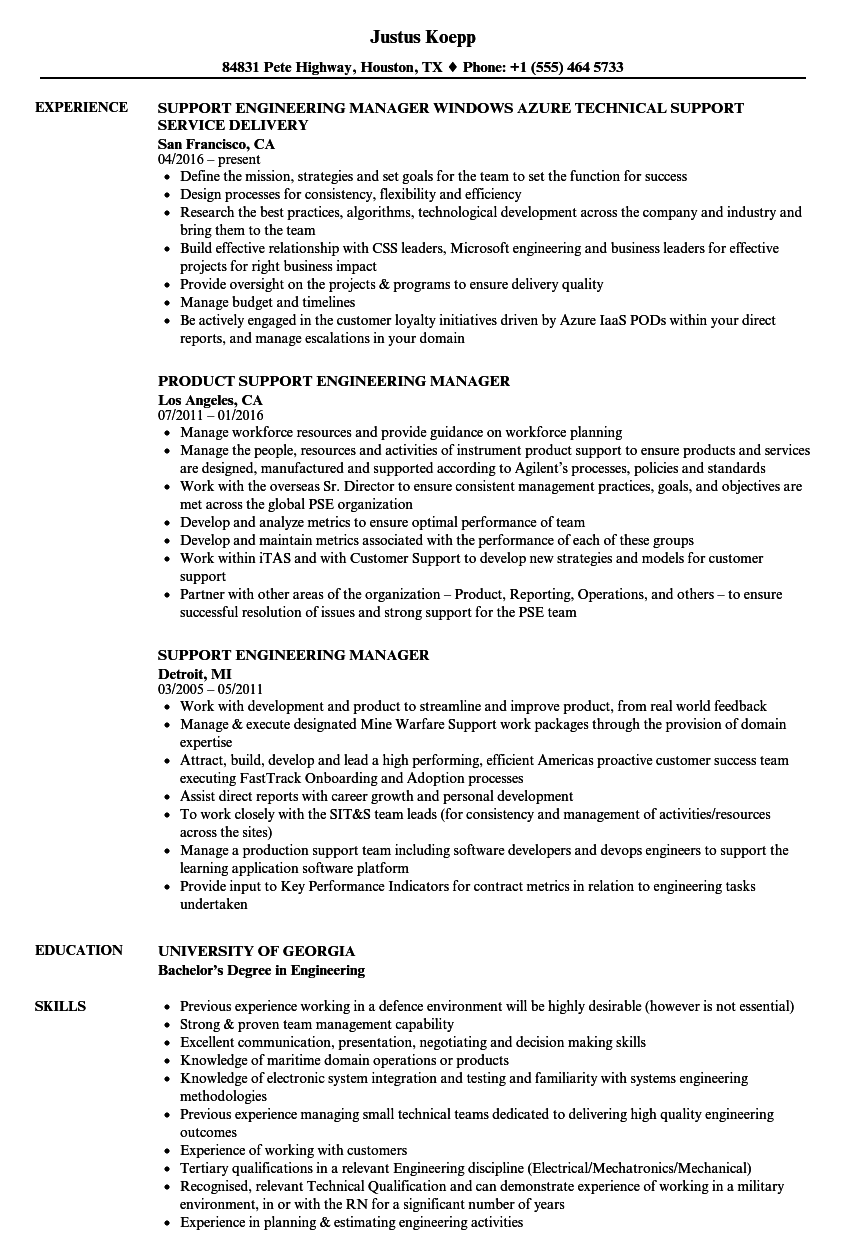 Download Support Engineering Manager Resume Sample As Image File
