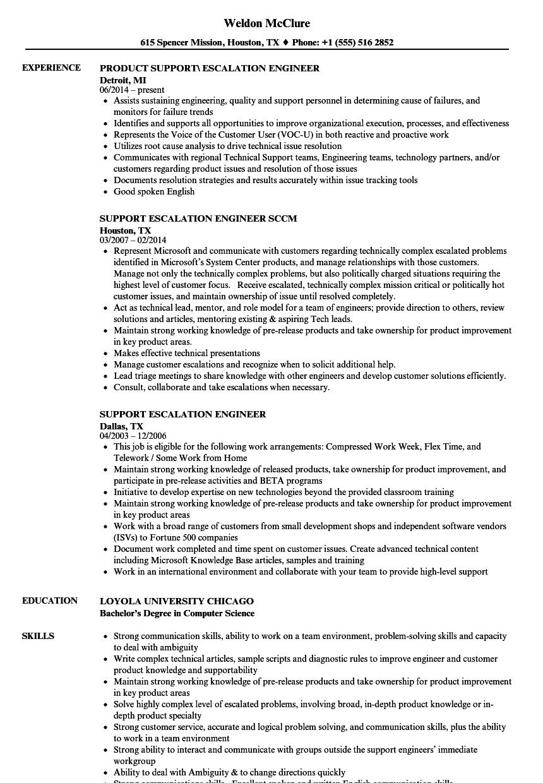 support escalation engineer resume samples