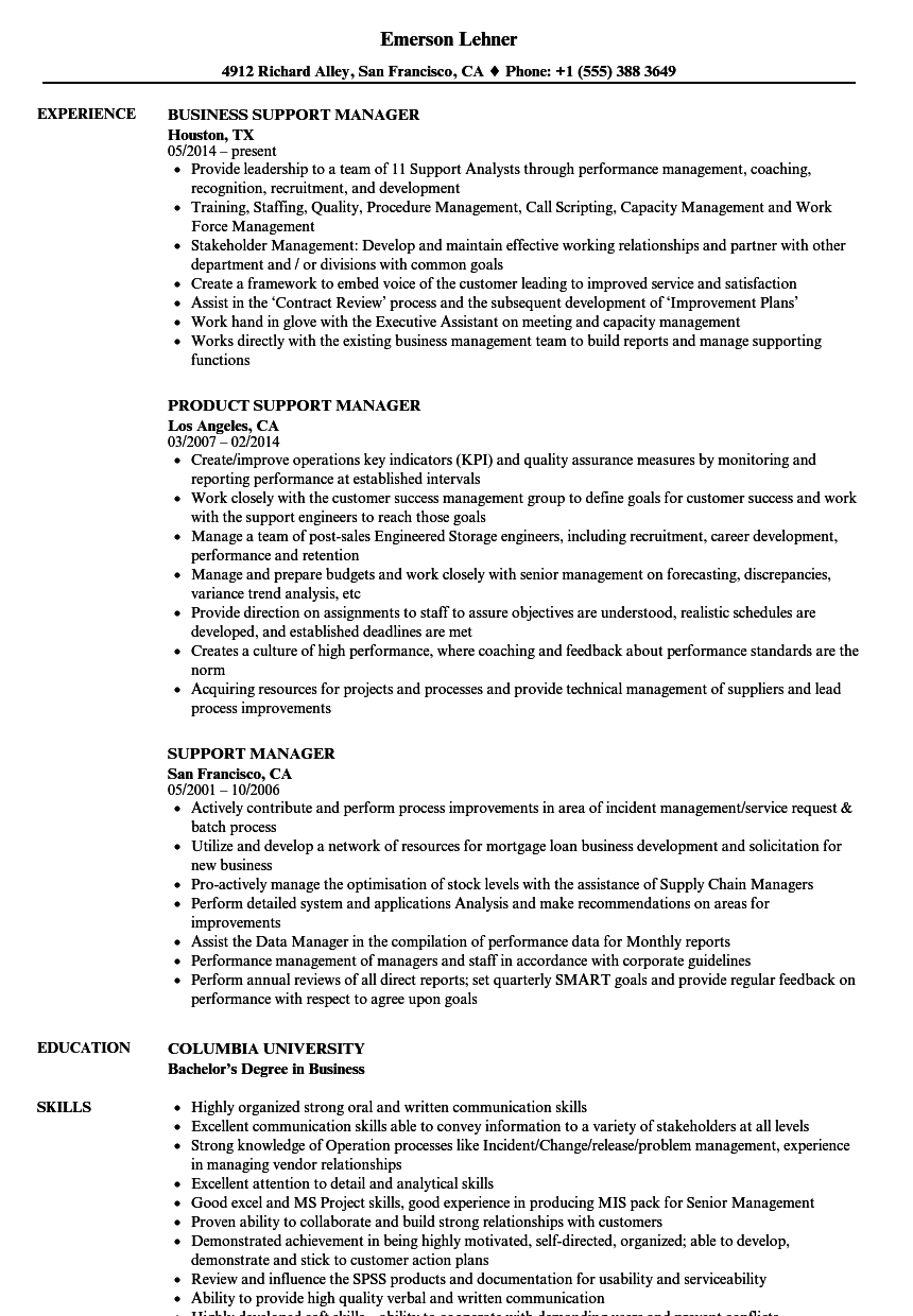 Support Manager Resume Samples Velvet Jobs