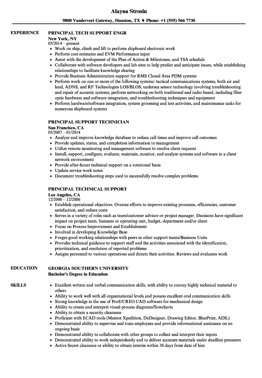 support principal resume samples