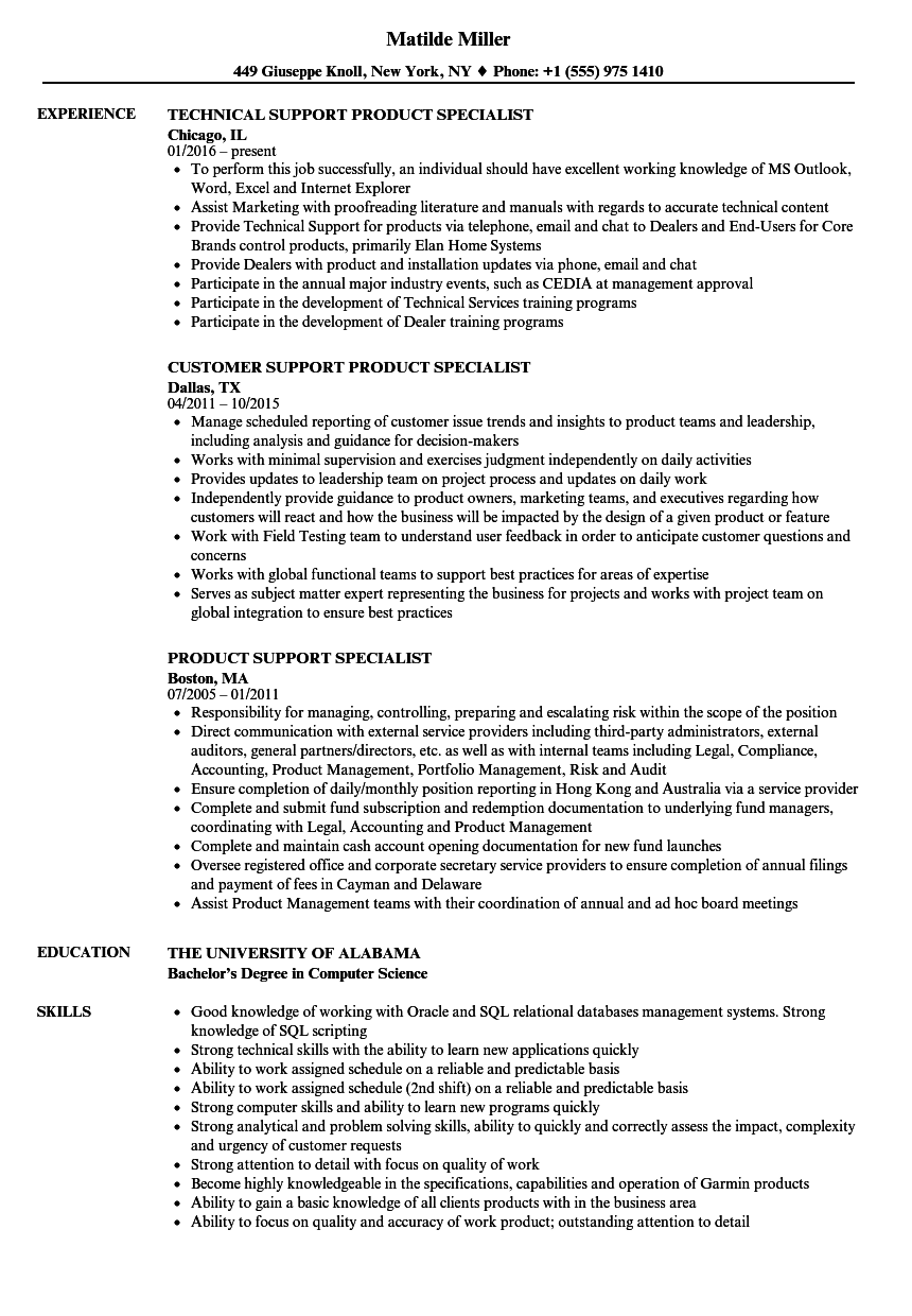 Support Product Specialist Resume Samples | Velvet Jobs
