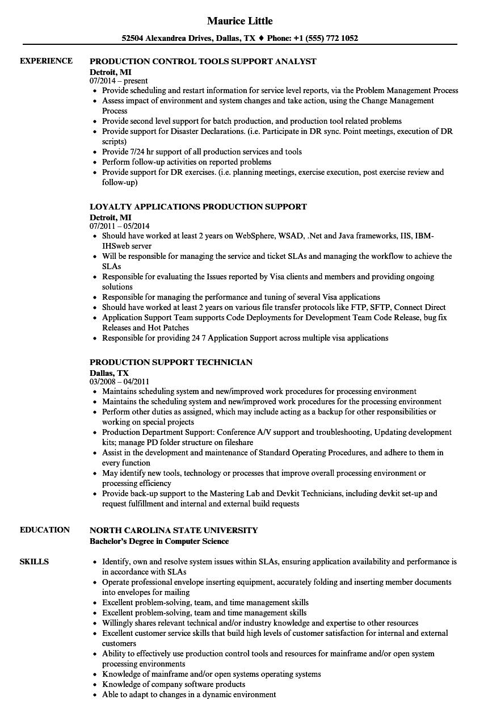 Support Production Resume Samples | Velvet Jobs
