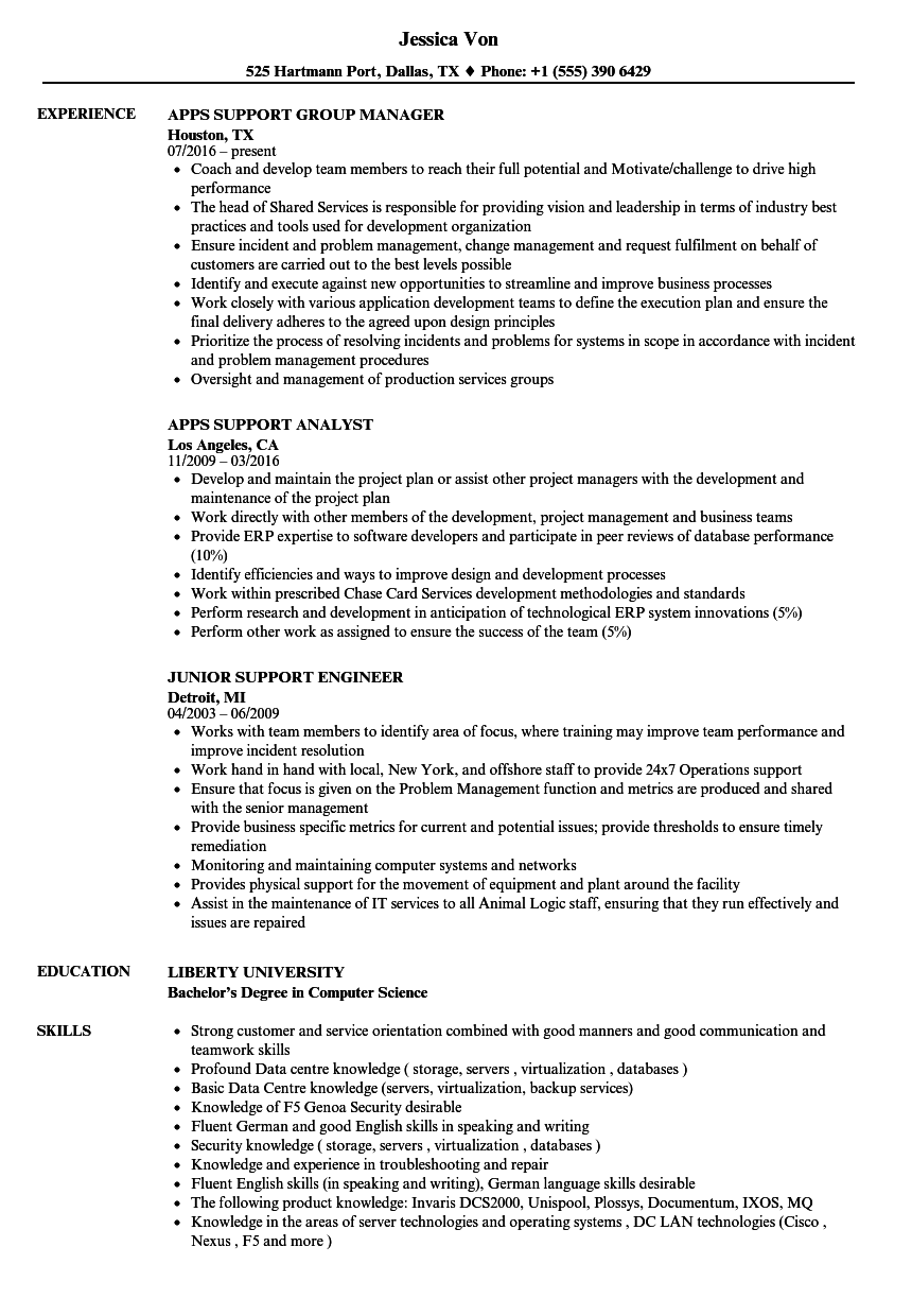 support resume samples