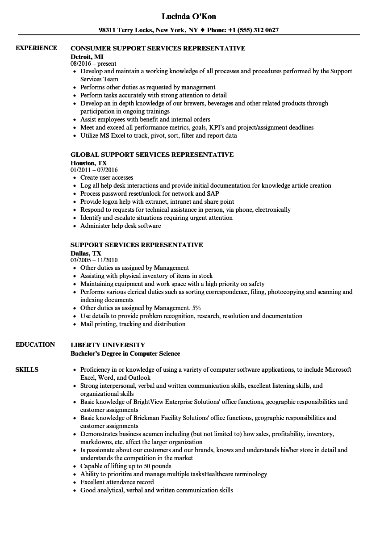 support services representative resume samples