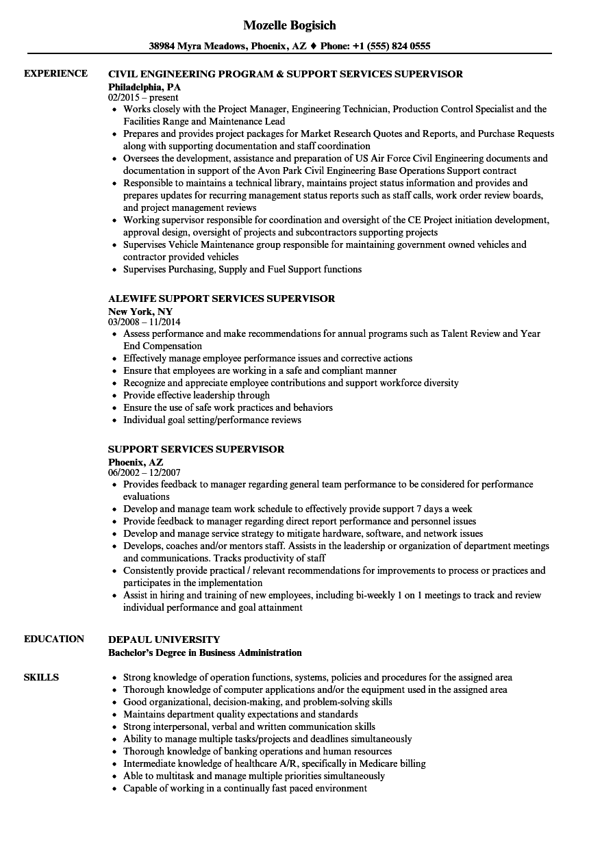 Support Services Supervisor Resume Samples | Velvet Jobs