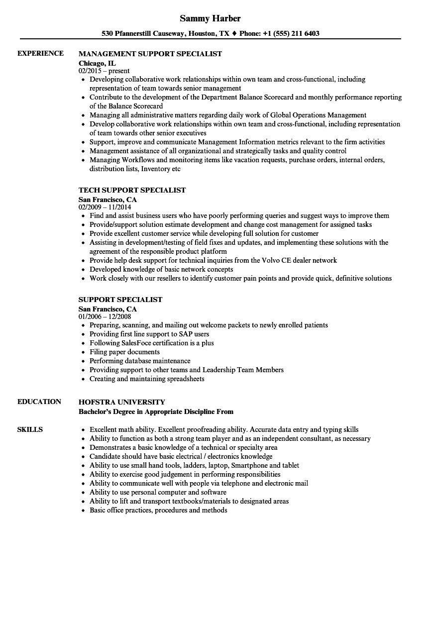 support specialist resume samples