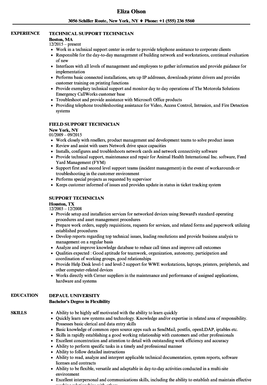 Support Technician Resume Samples Velvet Jobs