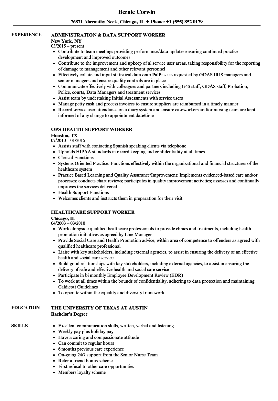 support worker resume samples