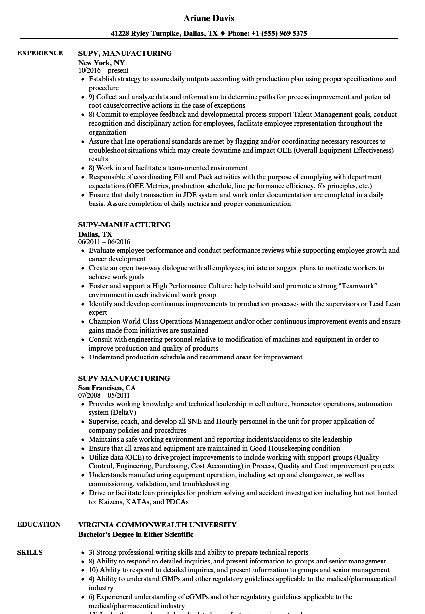 plant manager resume production job description cv example - Resume Job Description Examples