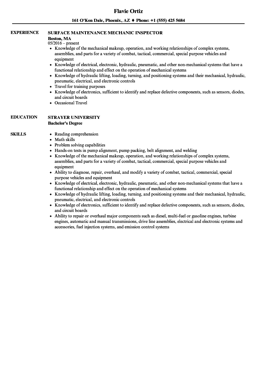 Surface Maintenance Mechanic Resume Samples Velvet Jobs