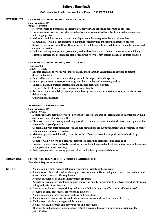 surgery coordinator resume samples