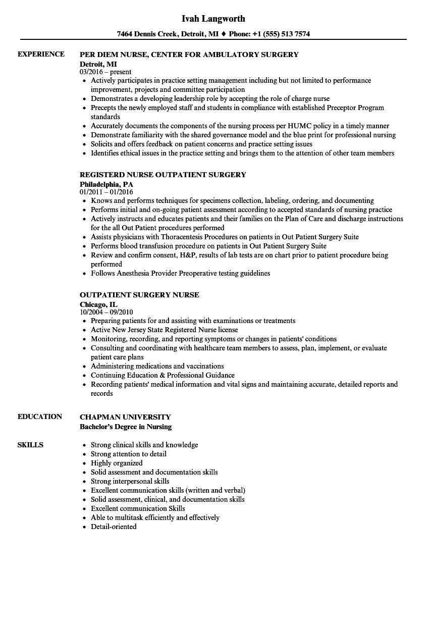 Download Surgery Nurse Resume Sample As Image File  Nursing Resume Skills