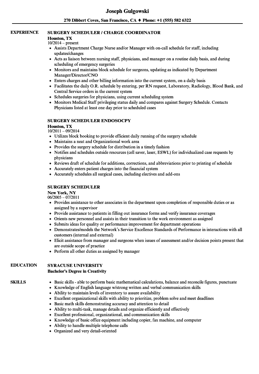 surgery scheduler resume samples