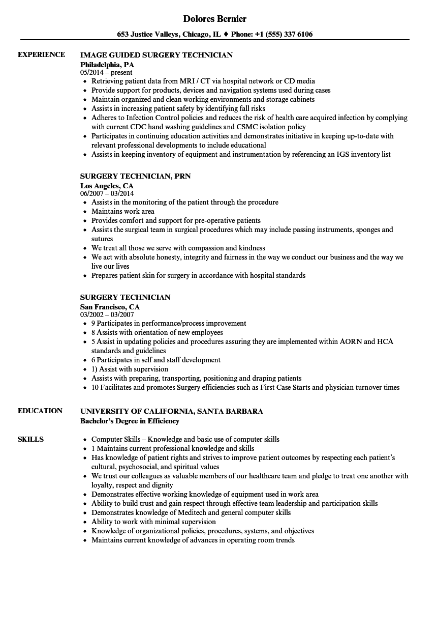 surgery technician resume samples