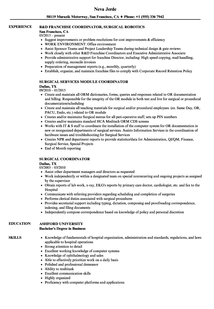 Scheduling Coordinator Job Description | surgical coordinator resume sample