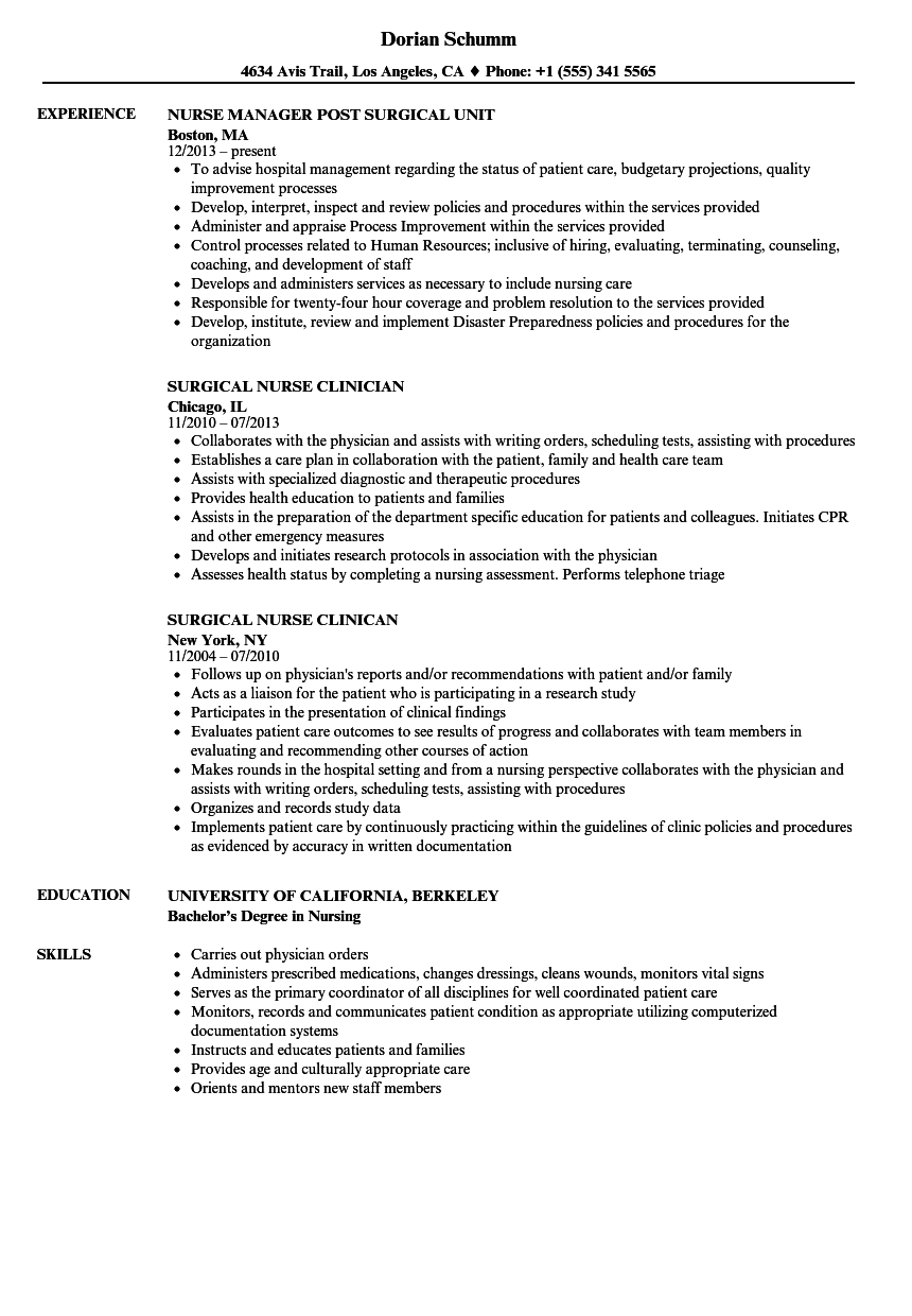 Surgical Nurse Resume Samples | Velvet Jobs
