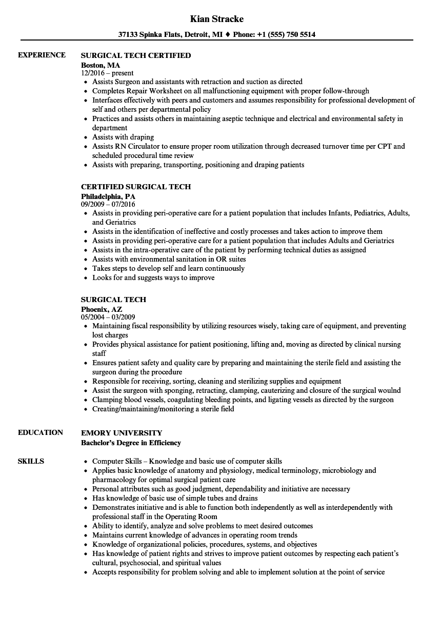 Surgical Technologist Resume | Surgical Tech Resume Samples Velvet Jobs