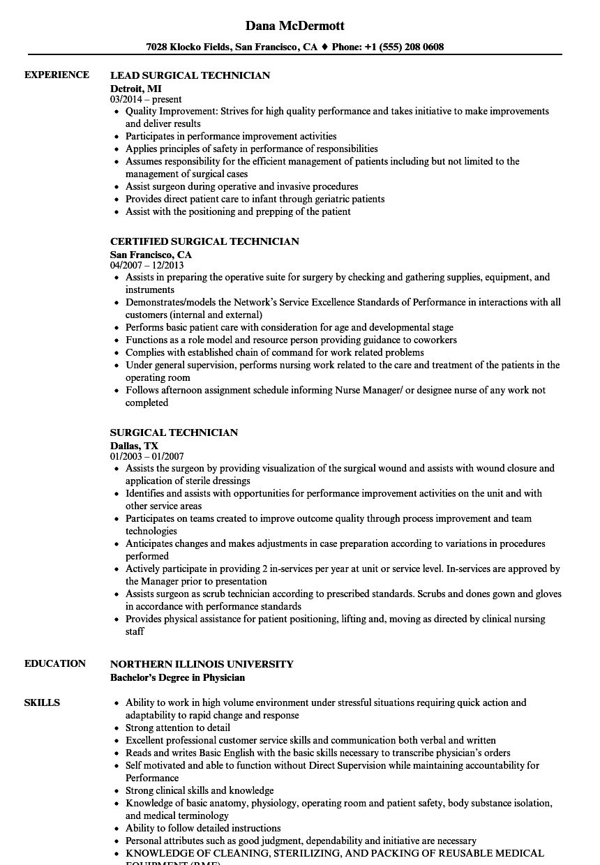 Velvet Jobs  Surgical Tech Resume Sample