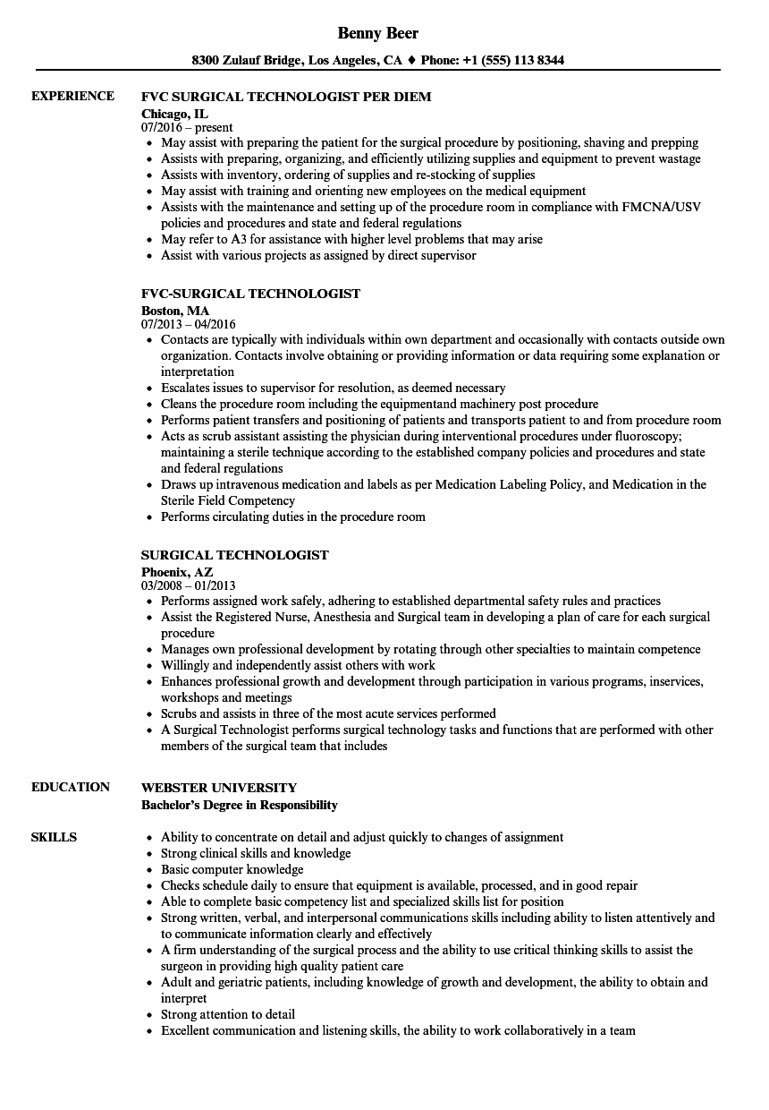 Surgical Technologist Resume Samples Velvet Jobs