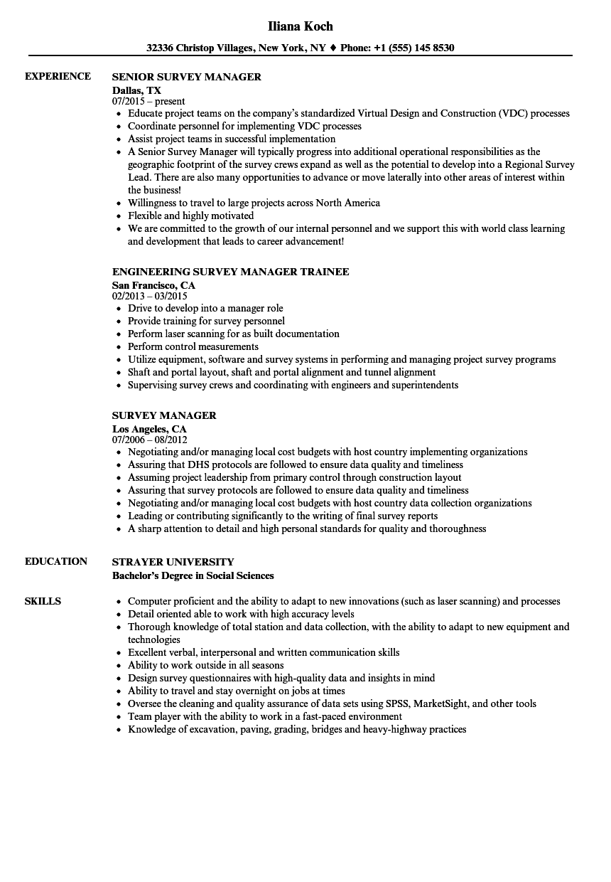 Survey Manager Resume Samples | Velvet Jobs