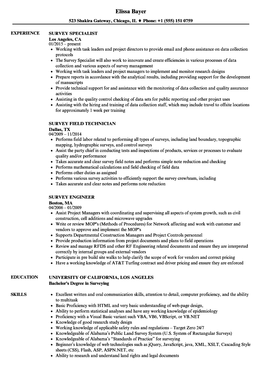Survey Resume Samples | Velvet Jobs on