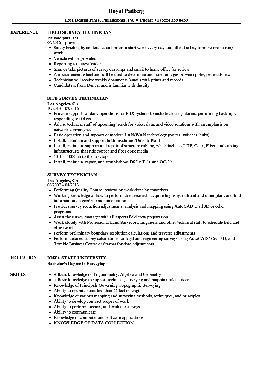 Survey Technician Resume Samples | Velvet Jobs