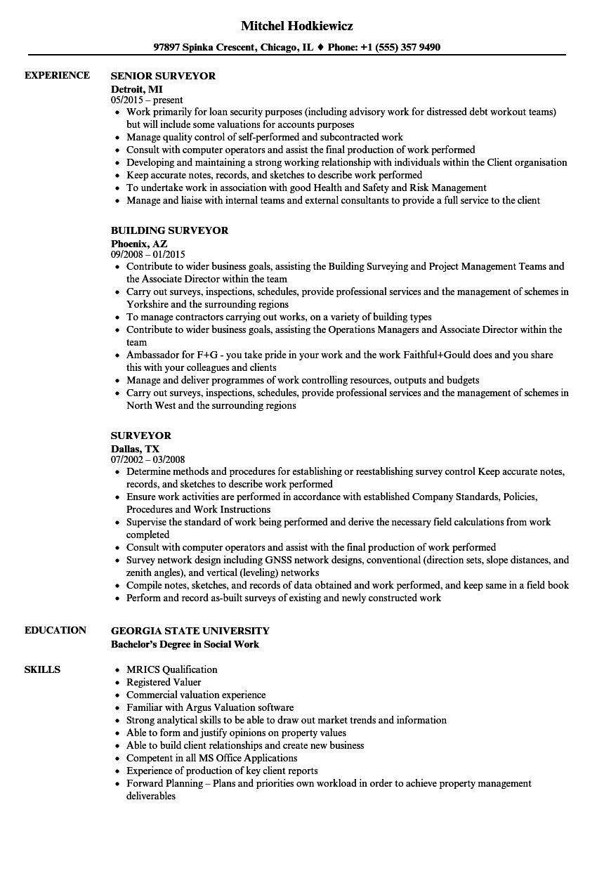 Surveyor Resume Samples Velvet Jobs