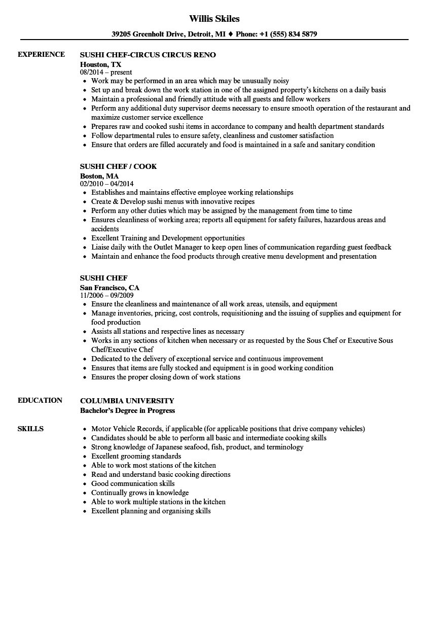 Sushi Chef Resume Samples Velvet Jobs