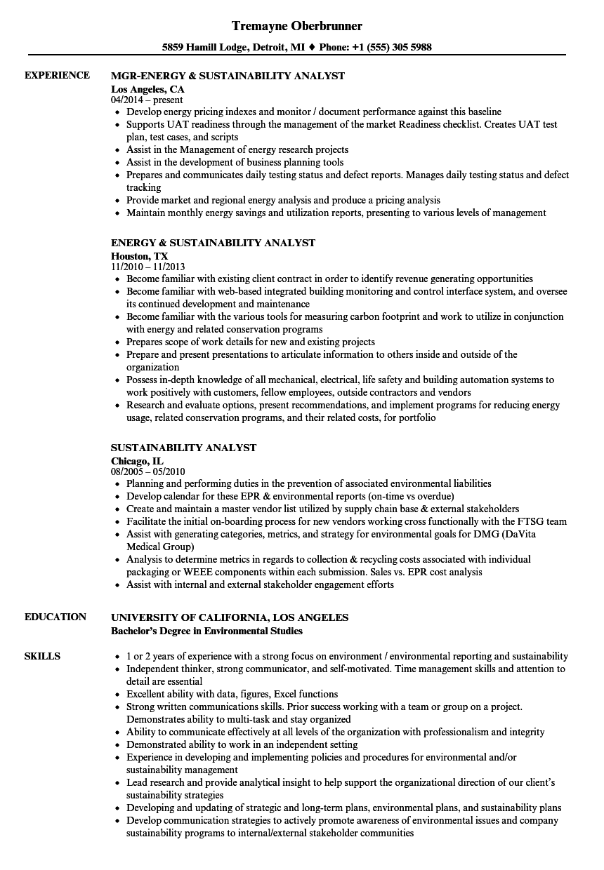 Sustainability Analyst Resume Samples | Velvet Jobs
