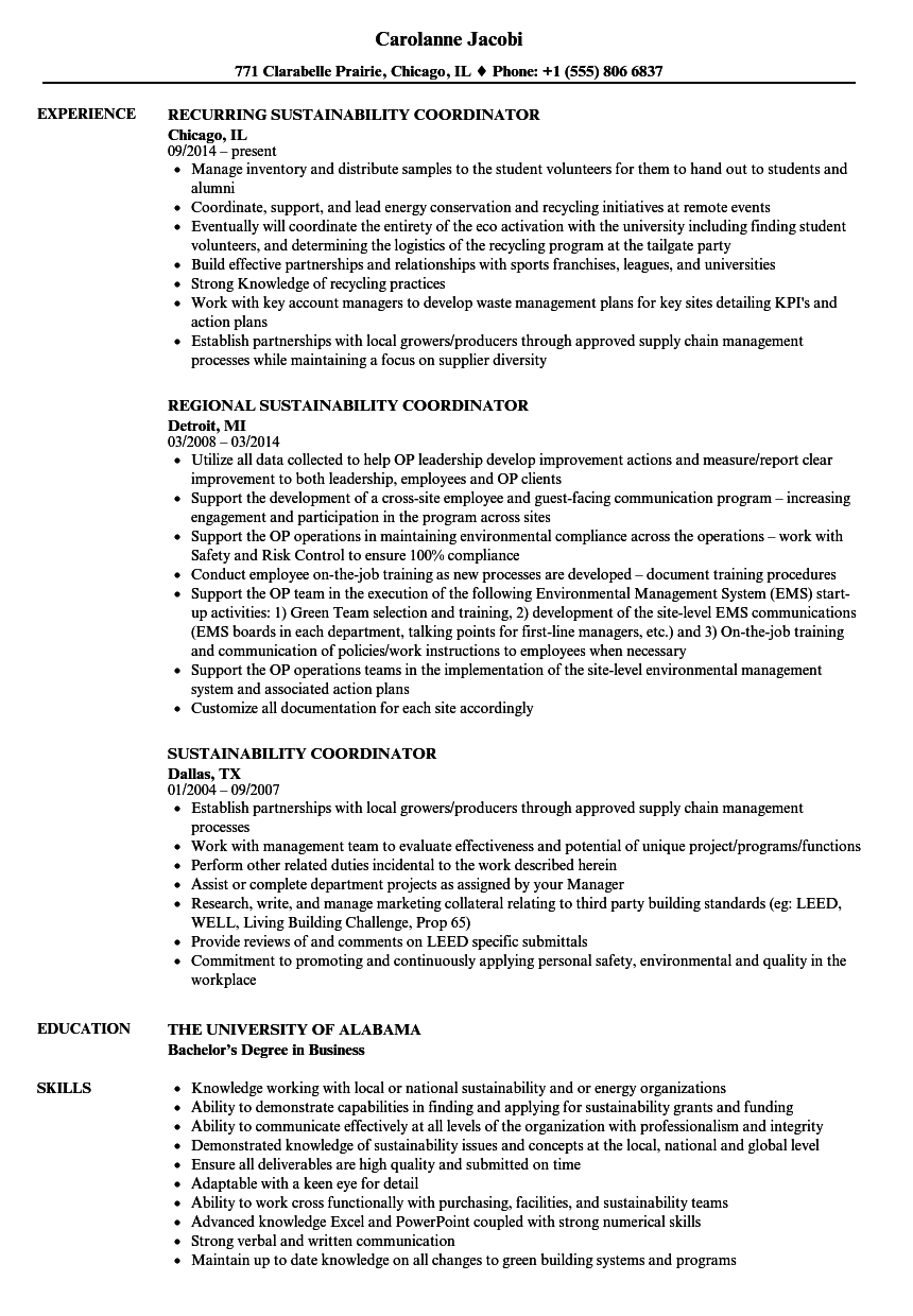 Sustainability Coordinator Resume Samples | Velvet Jobs