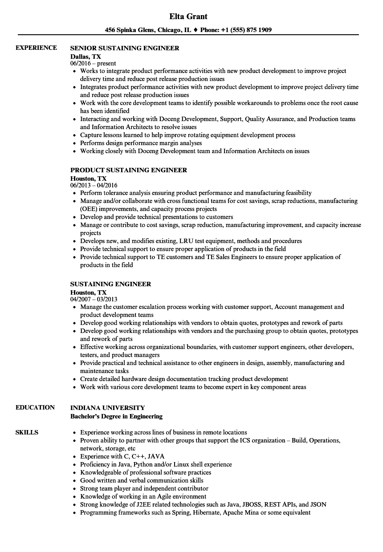 sustaining engineer resume samples