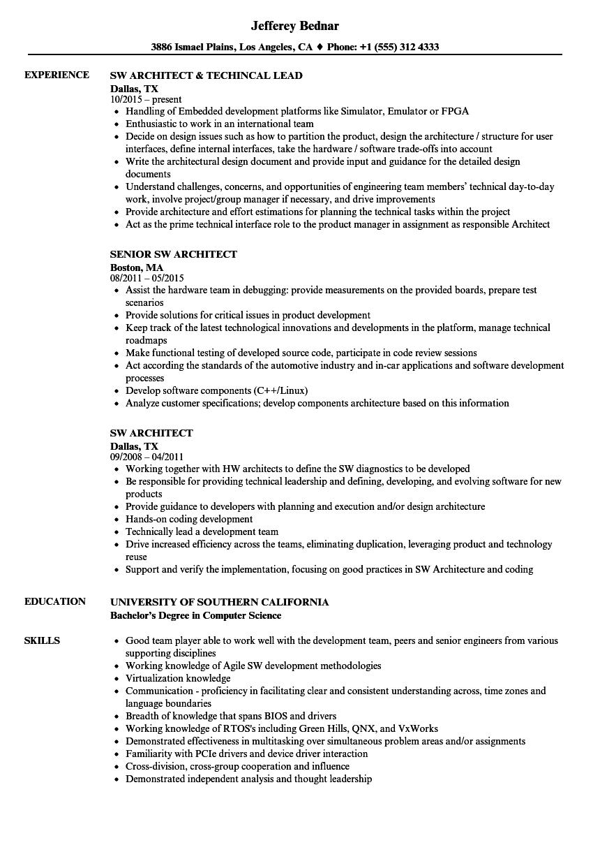 SW Architect Resume Samples | Velvet Jobs