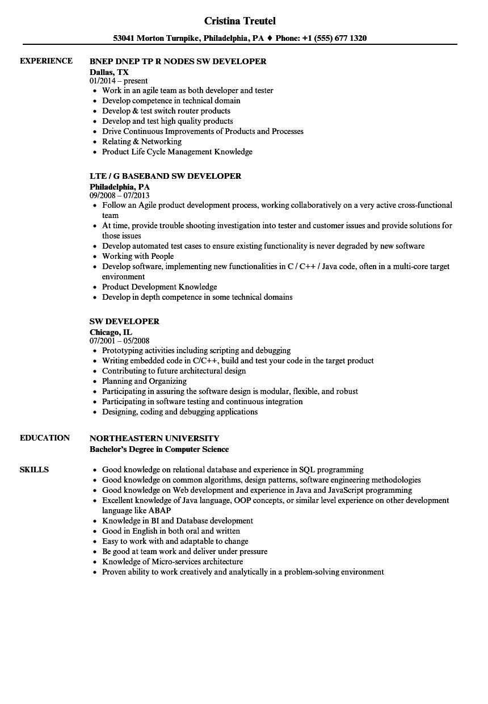 sw developer resume samples