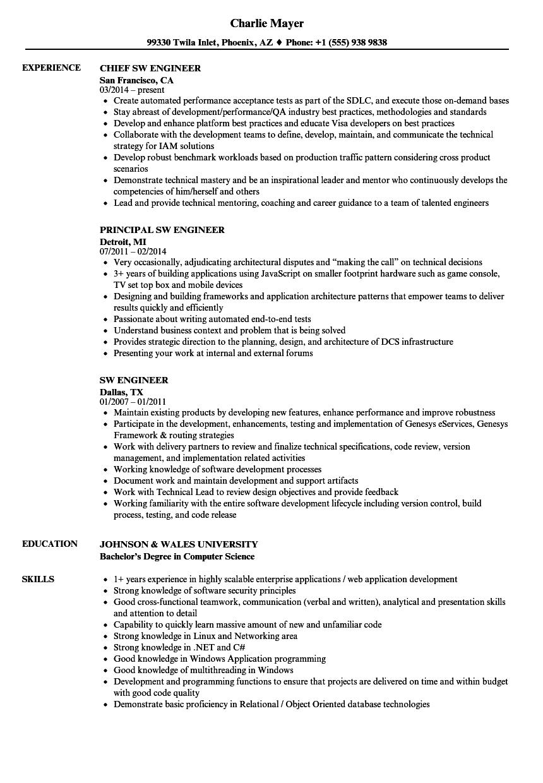 sw engineer resume samples