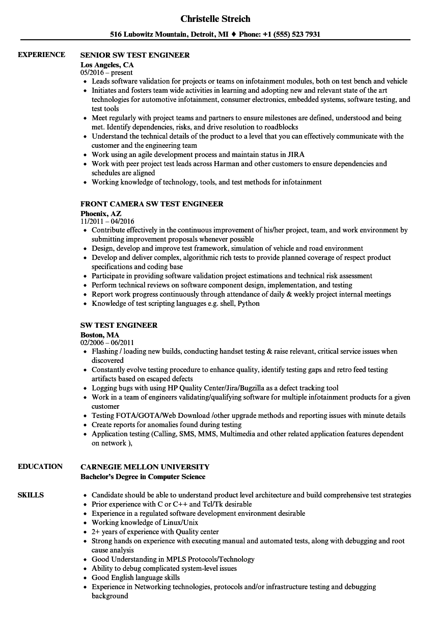 SW Test Engineer Resume Samples | Velvet Jobs