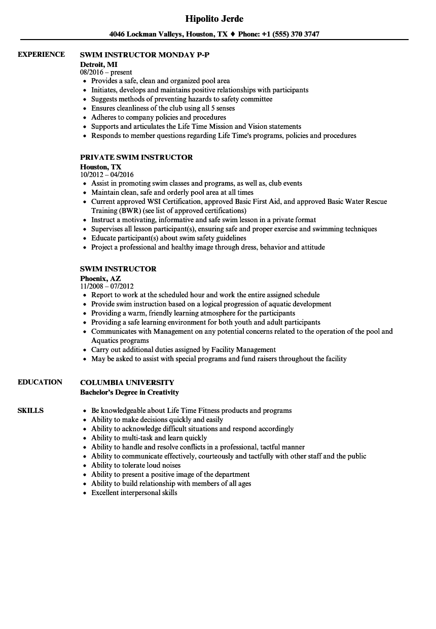 Swim Instructor Resume Samples | Velvet Jobs