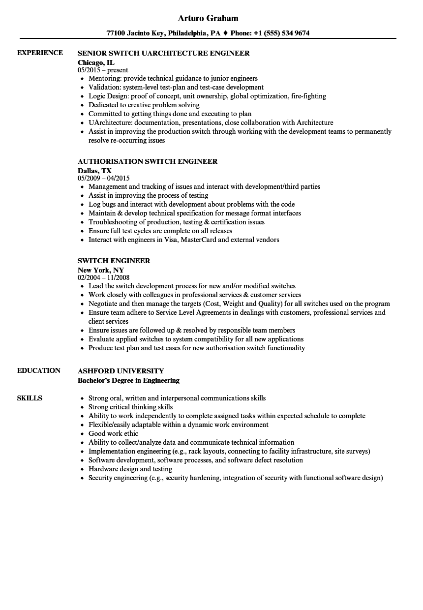 download switch engineer resume sample as image file - Switch Engineer Sample Resume