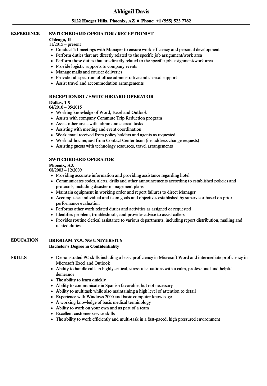 download switchboard operator resume sample as image file - Switchboard Operator Resume