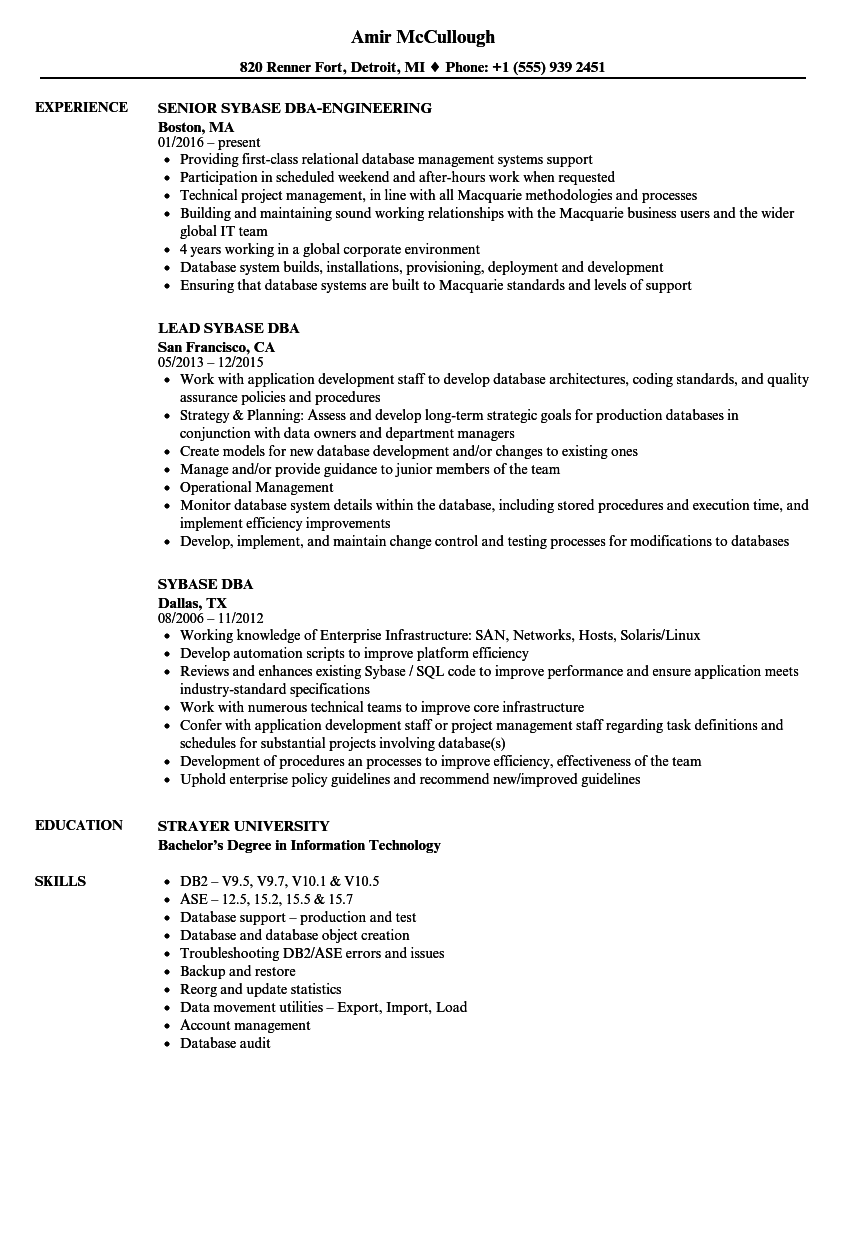 Sybase Dba Resume Samples Velvet Jobs