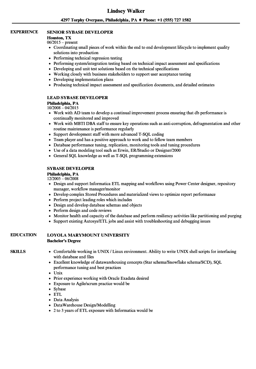 Sybase Developer Resume Samples Velvet Jobs